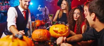 44207204 - friends having halloween program at nightclub
