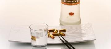 21842366 - vodka russian standard at a japanese restaurant